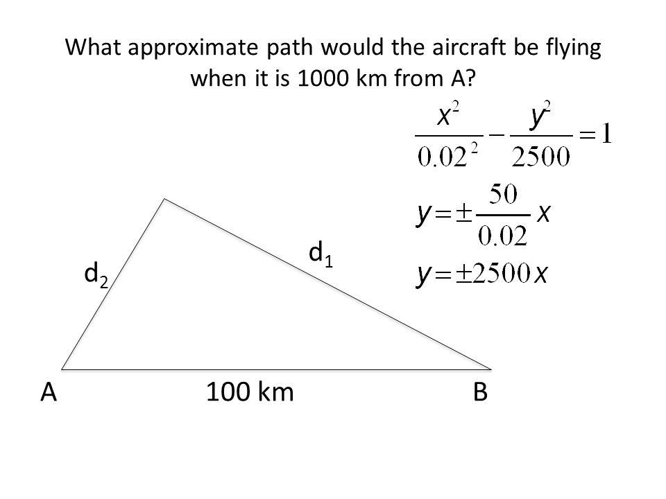 What approximate path would the aircraft be flying when it is 1000 km from A