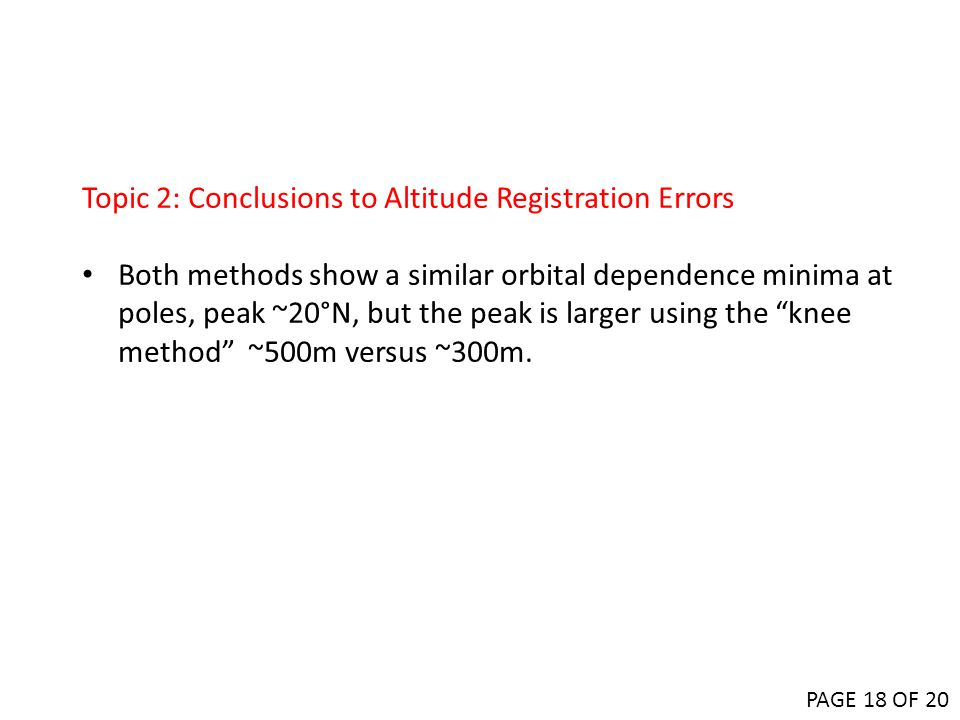 Topic 2: Conclusions to Altitude Registration Errors
