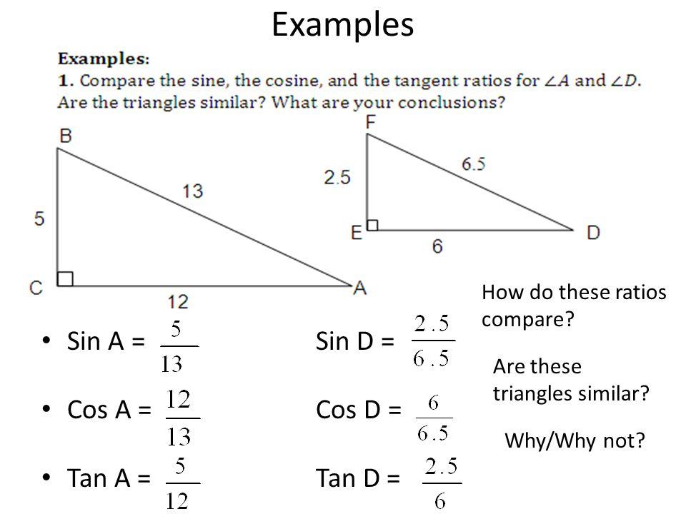 Examples Sin A = Sin D = Cos A = Cos D = Tan A = Tan D =