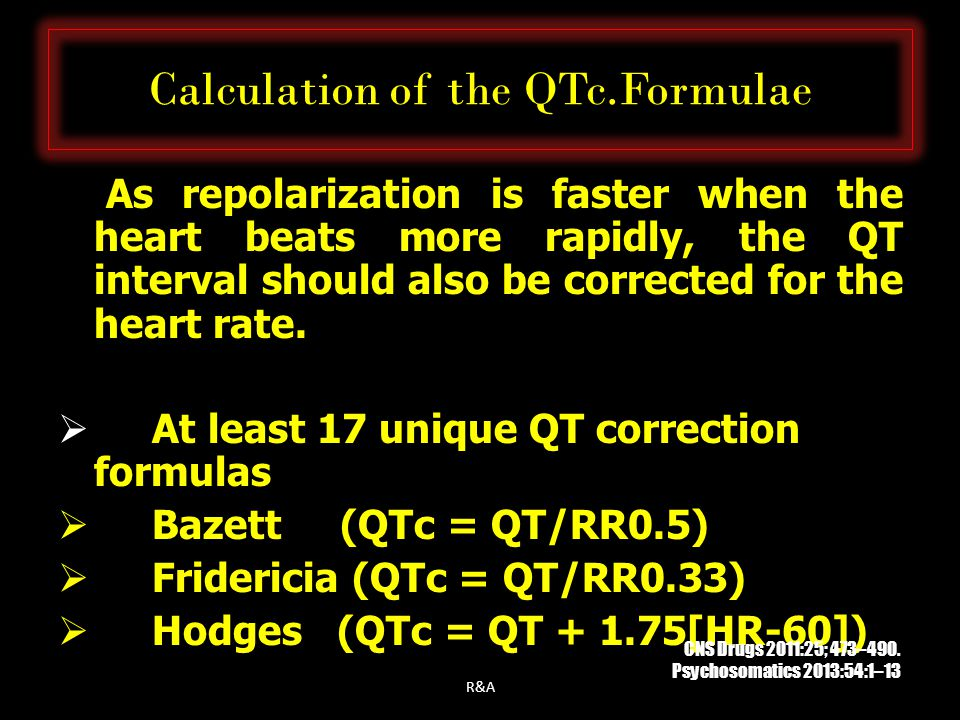 Calculation of the QTc.Formulae