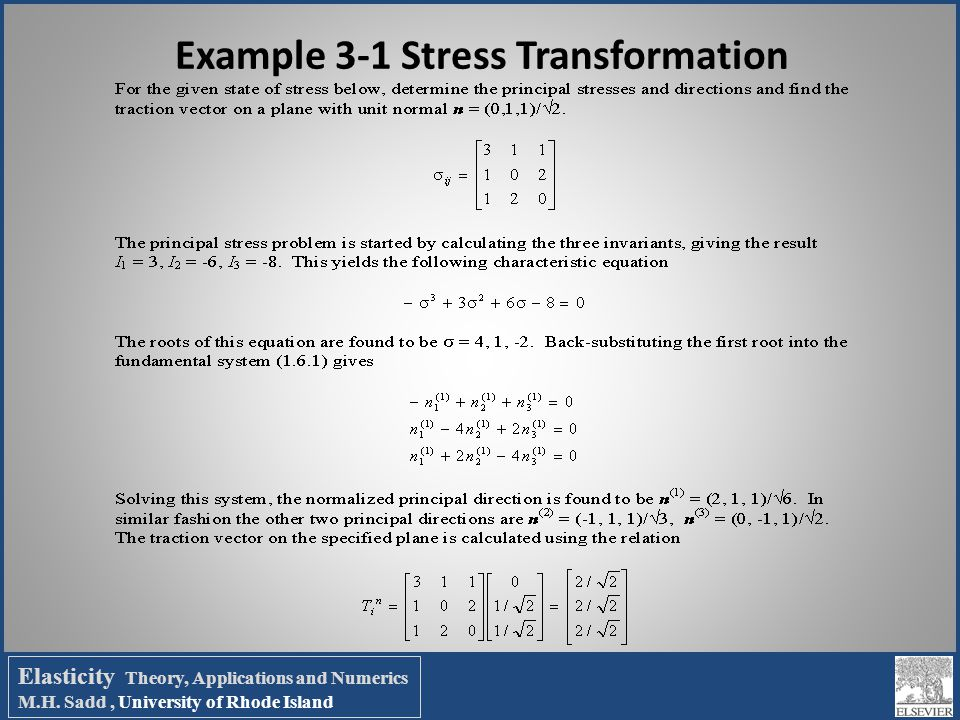 Example 3-1 Stress Transformation
