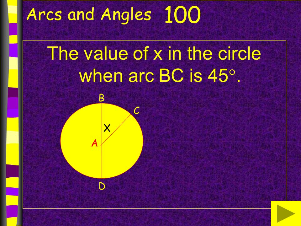 The value of x in the circle when arc BC is 45.