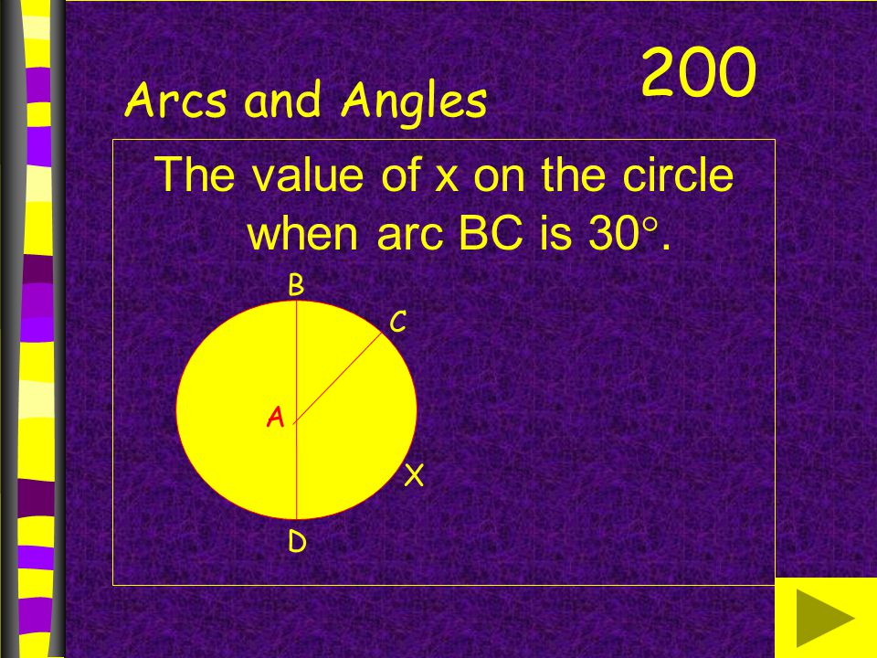 The value of x on the circle when arc BC is 30.