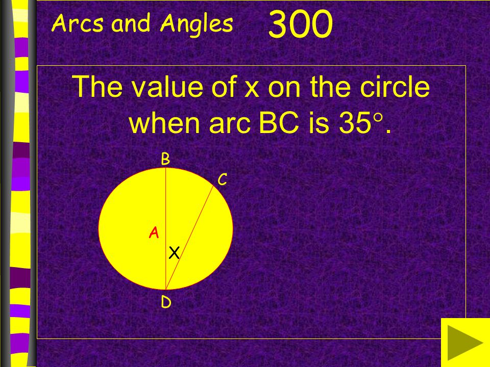 The value of x on the circle when arc BC is 35.