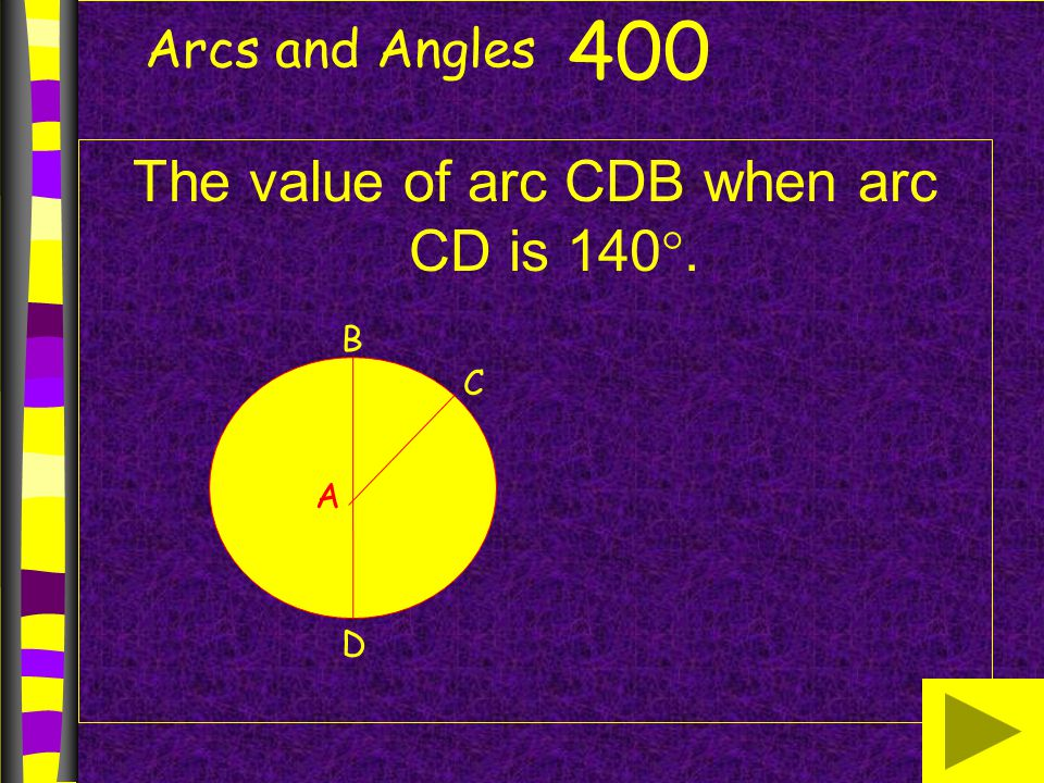 The value of arc CDB when arc CD is 140.