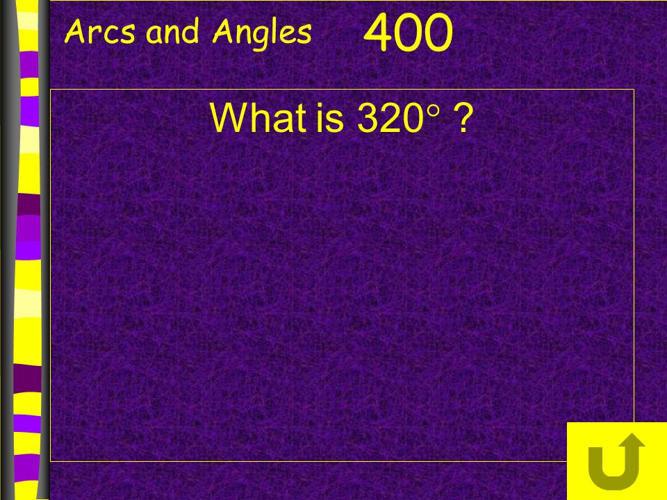 Arcs and Angles 400 What is 320