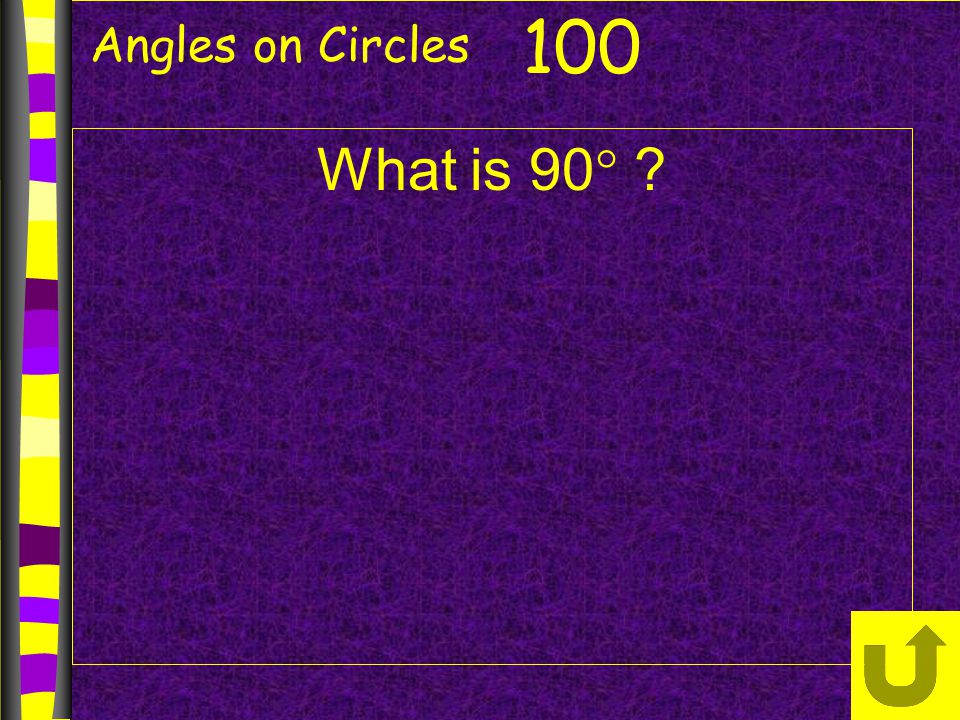 Angles on Circles 100 What is 90