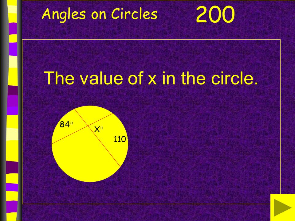 The value of x in the circle.