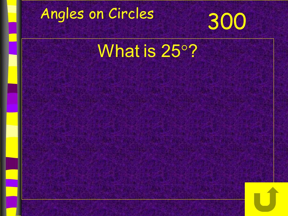 Angles on Circles 300 What is 25
