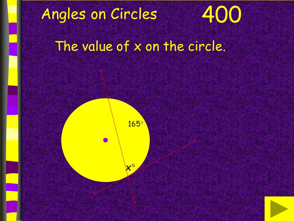 Angles on Circles 400 The value of x on the circle. 165 x