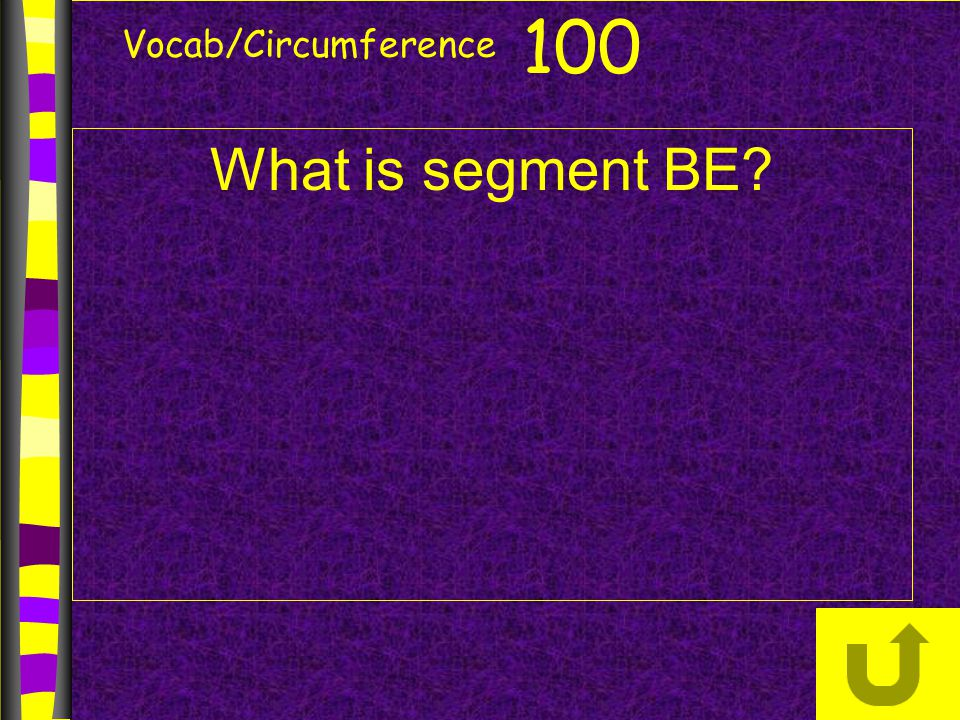 Vocab/Circumference 100 What is segment BE