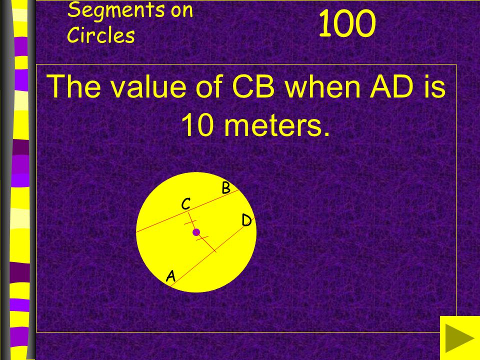 The value of CB when AD is 10 meters.