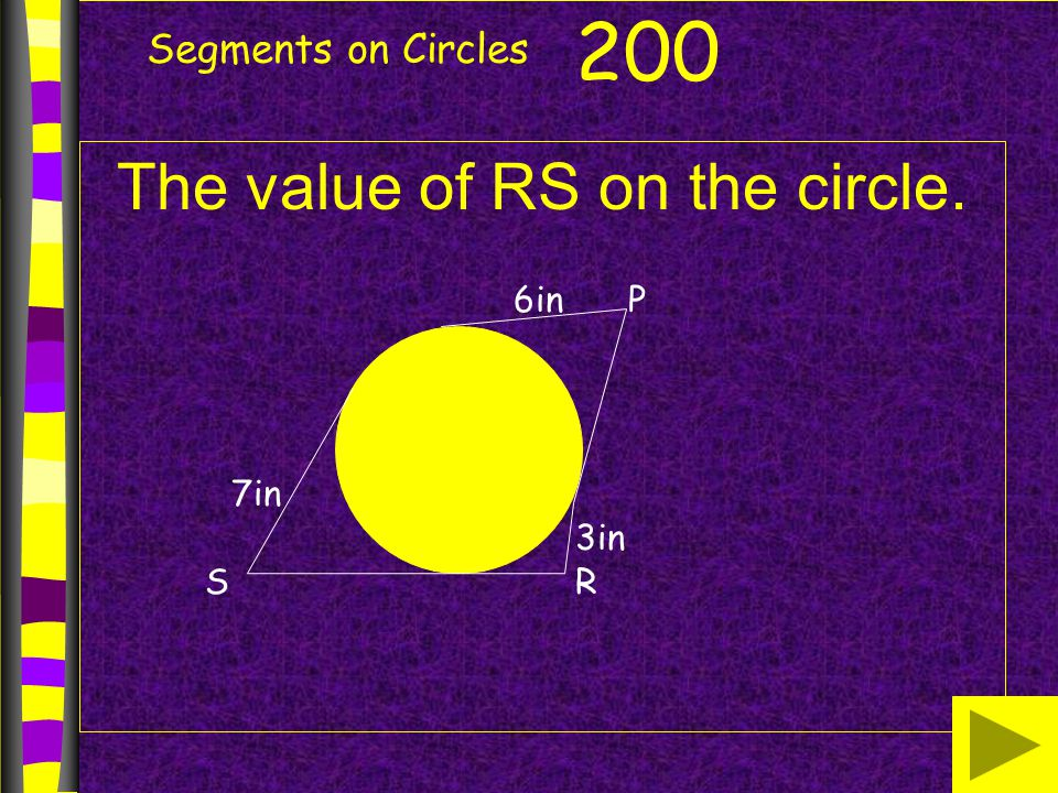 The value of RS on the circle.