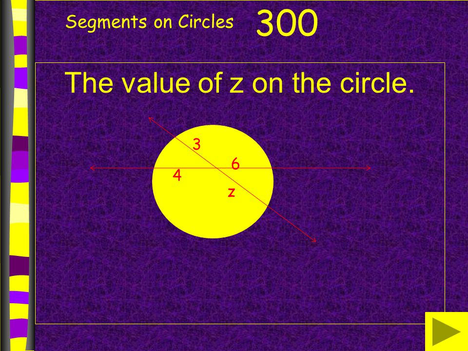 The value of z on the circle.