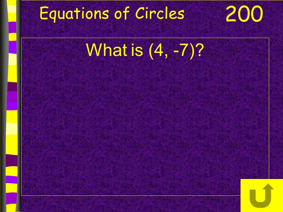 Equations of Circles 200 What is (4, -7)