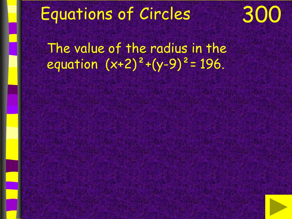 Equations of Circles 300 The value of the radius in the equation (x+2)²+(y-9)²= 196.