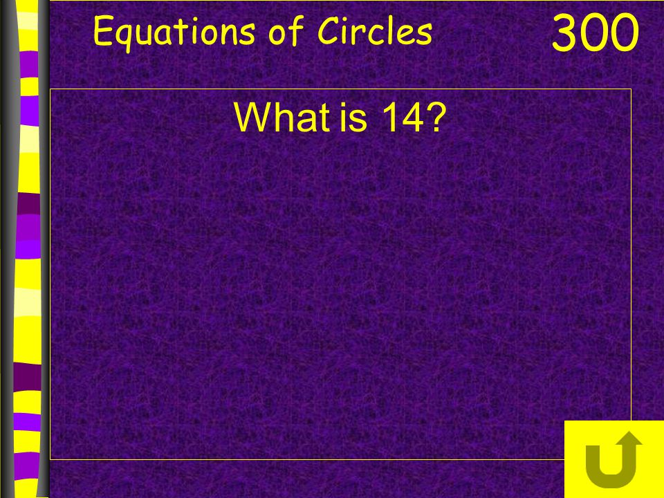 Equations of Circles 300 What is 14