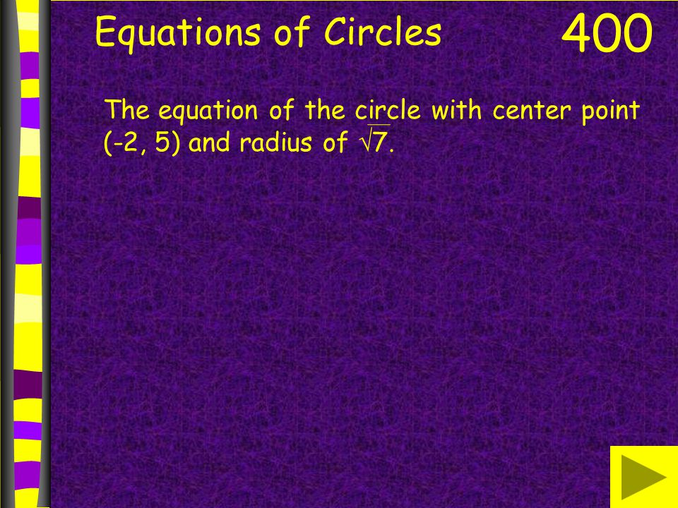Equations of Circles 400 The equation of the circle with center point (-2, 5) and radius of 7.