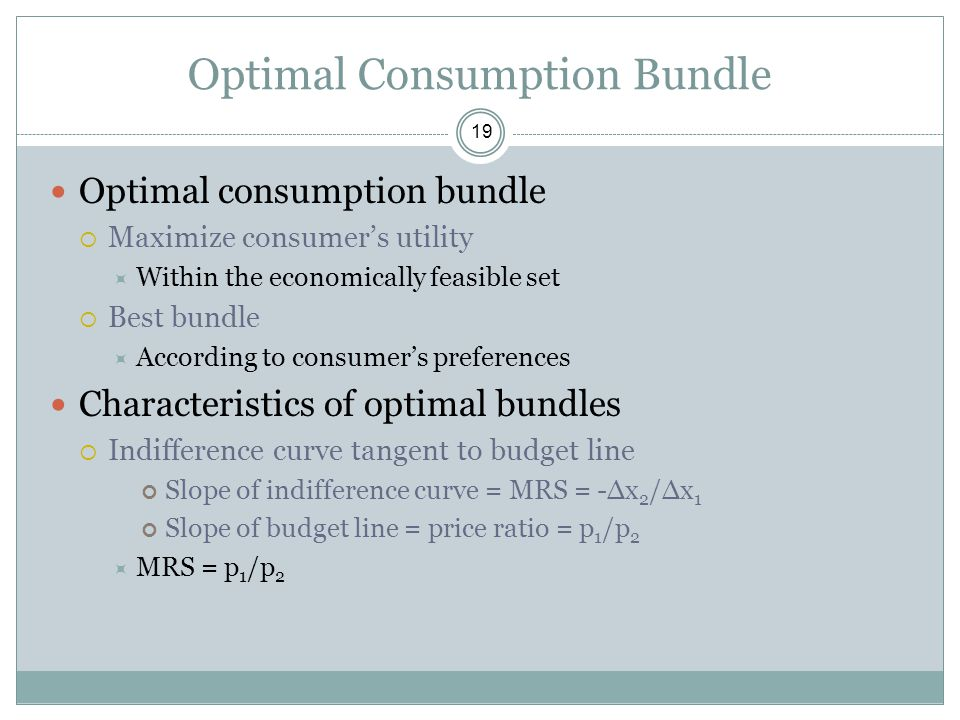 Optimal Consumption Bundle