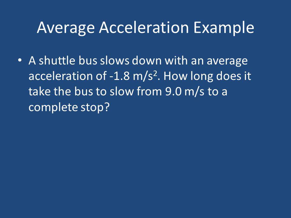 Average Acceleration Example