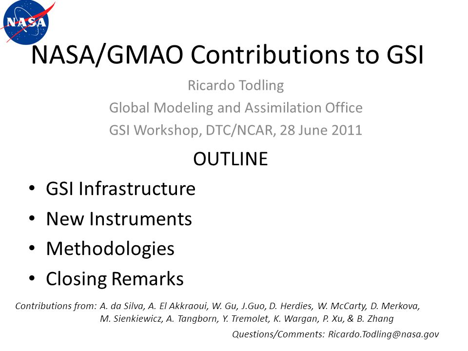 NASA/GMAO Contributions to GSI