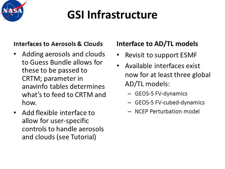 GSI Infrastructure Interface to AD/TL models