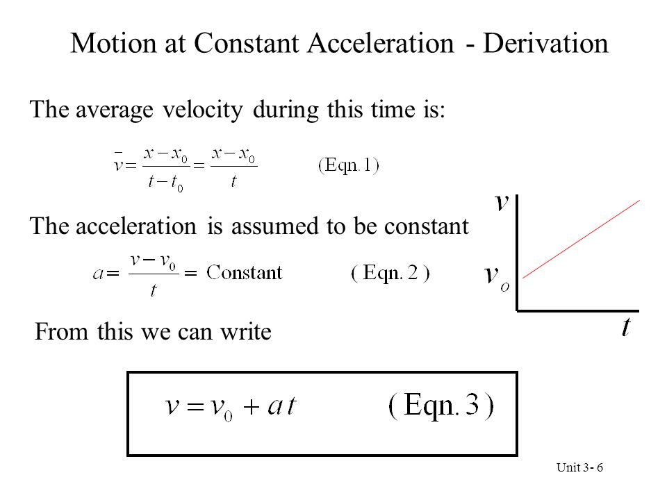 Motion at Constant Acceleration - Derivation