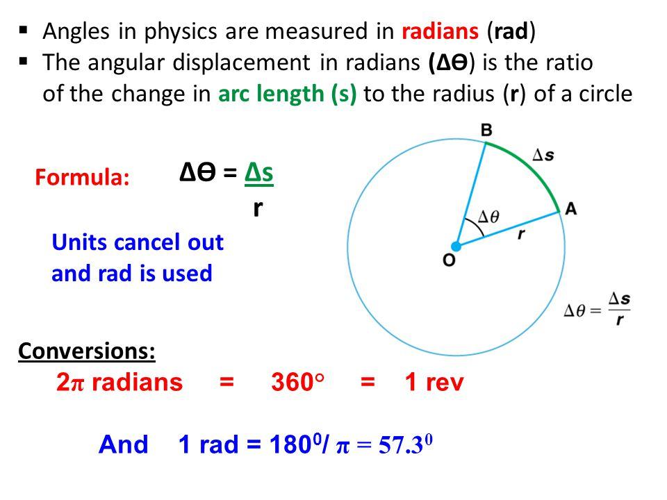 ∆ϴ = ∆s r Angles in physics are measured in radians (rad)