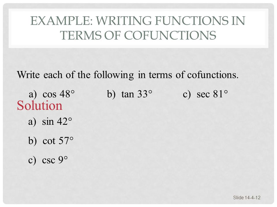 Example: Writing Functions in Terms of Cofunctions