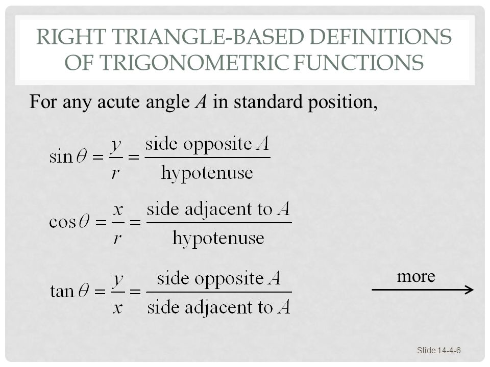 Right Triangle-Based Definitions of Trigonometric Functions