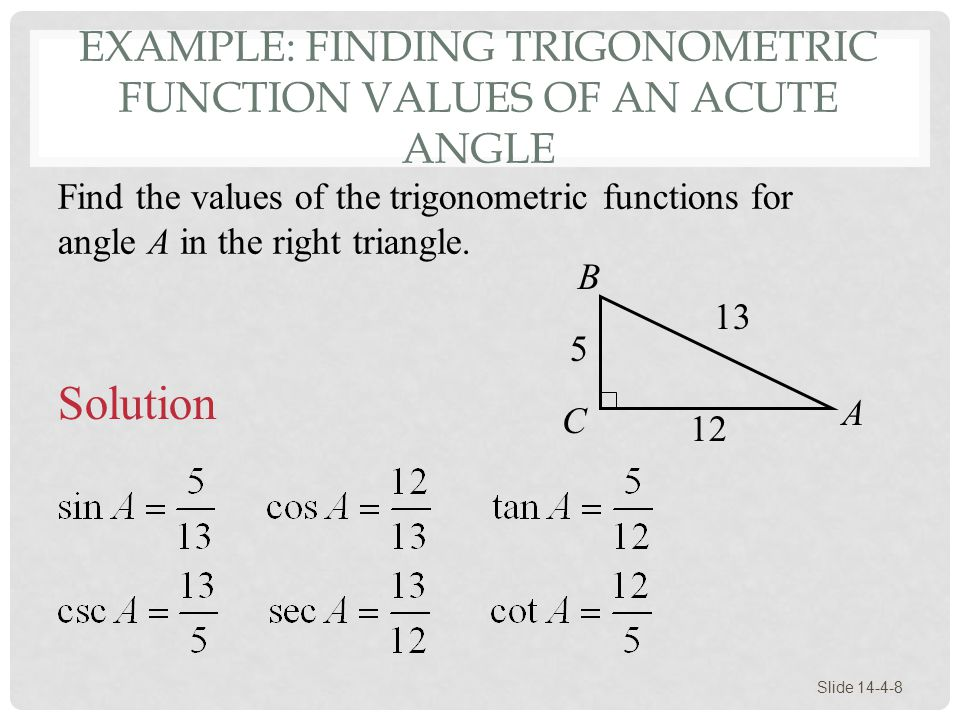 Example: Finding Trigonometric Function Values of an Acute Angle