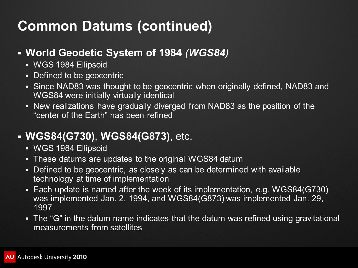 Common Datums (continued)