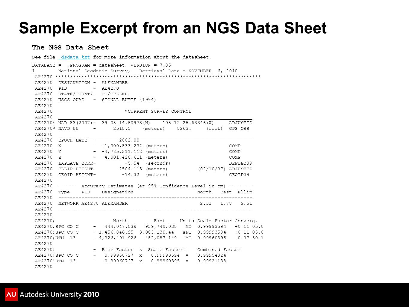 Sample Excerpt from an NGS Data Sheet