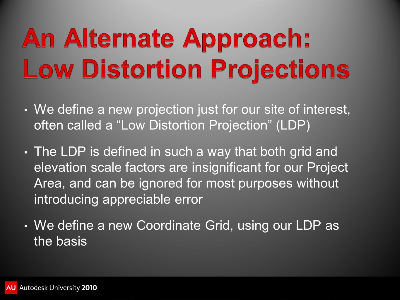 An Alternate Approach: Low Distortion Projections