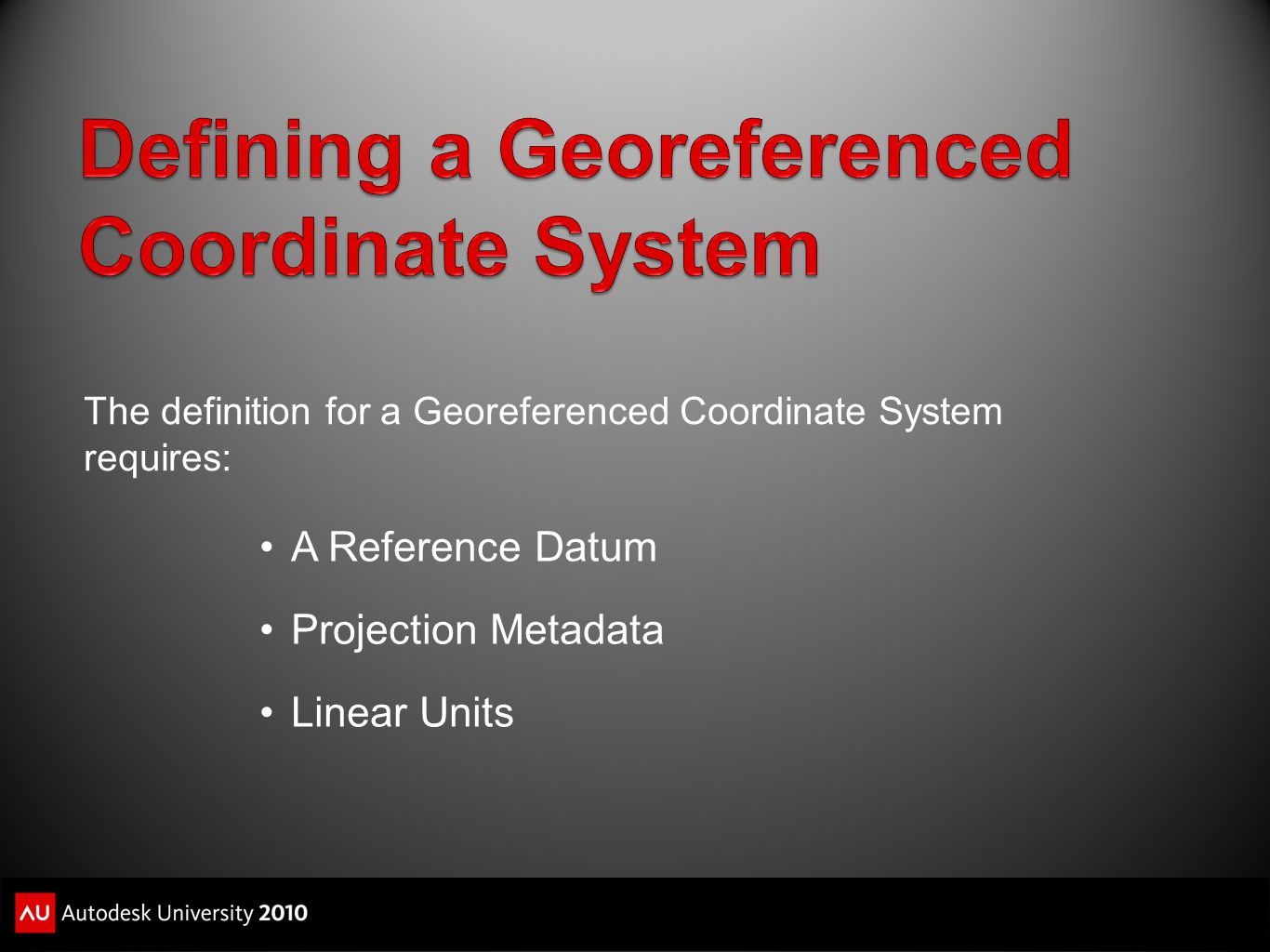 Defining a Georeferenced Coordinate System