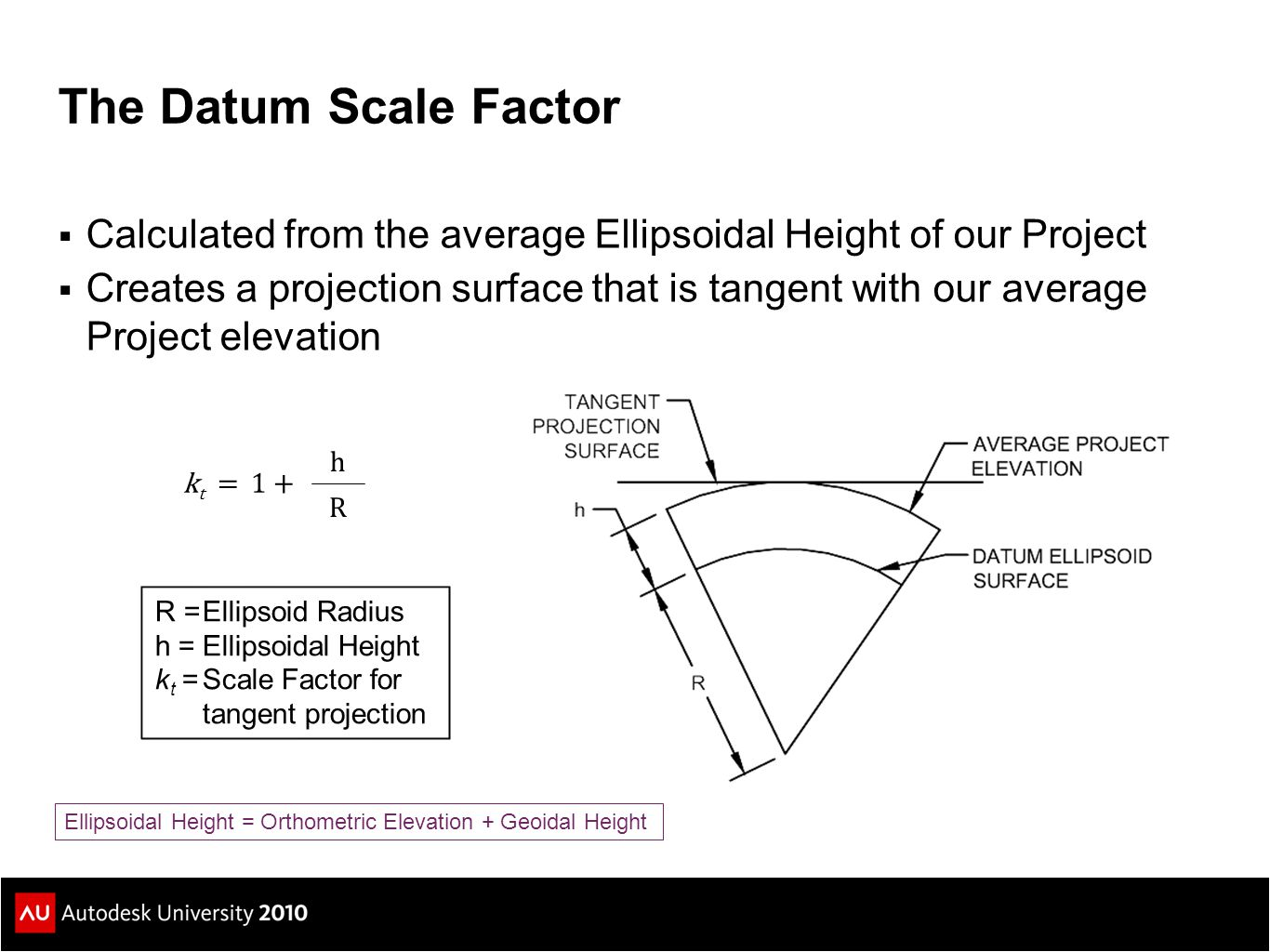 The Datum Scale Factor Calculated from the average Ellipsoidal Height of our Project.