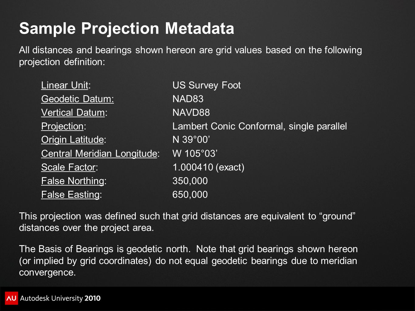 Sample Projection Metadata