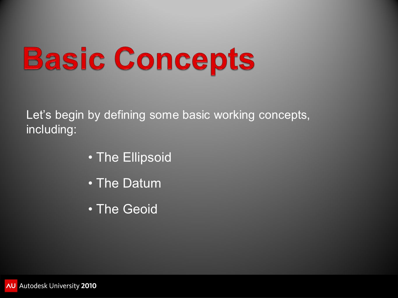 Basic Concepts The Ellipsoid The Datum The Geoid