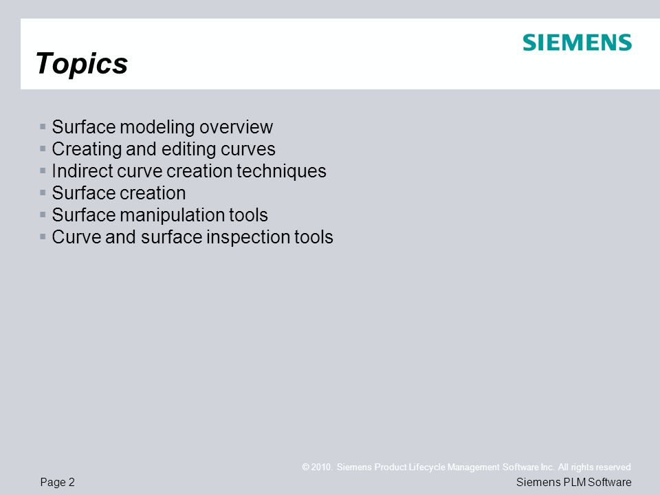 Topics Surface modeling overview Creating and editing curves