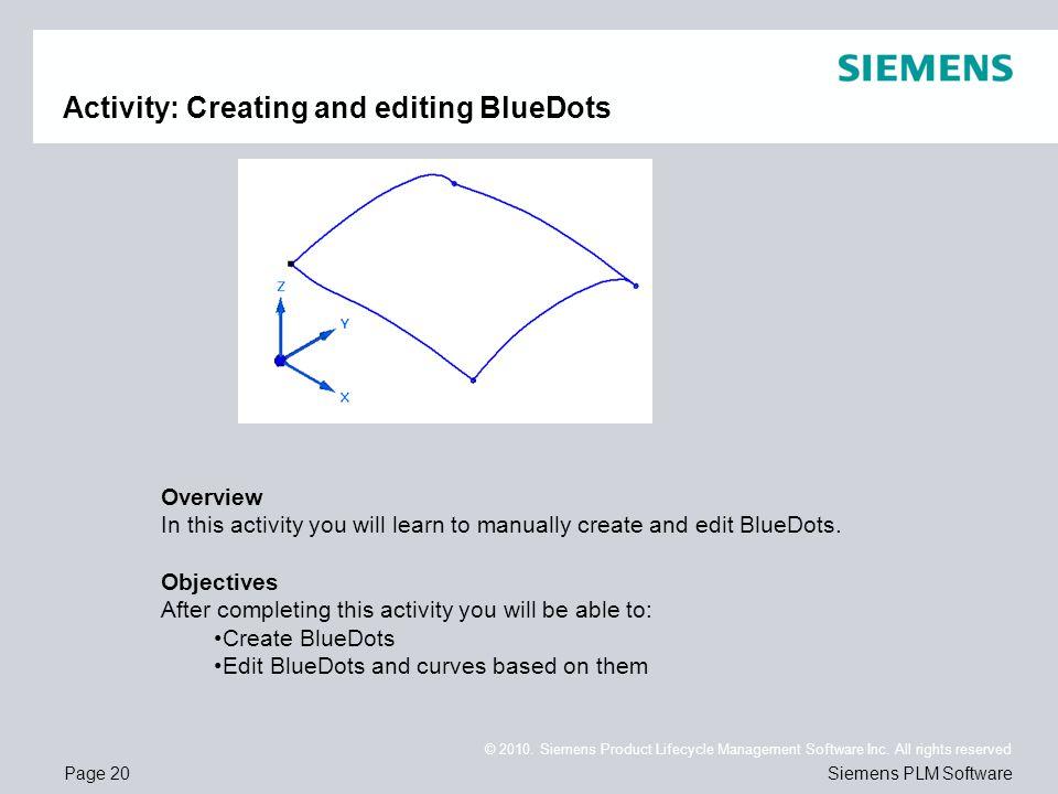 Activity: Creating and editing BlueDots