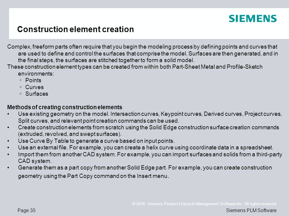 Construction element creation