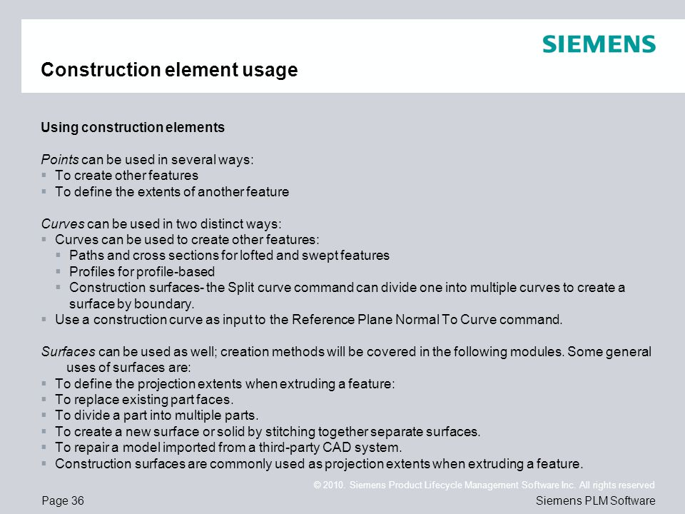 Construction element usage