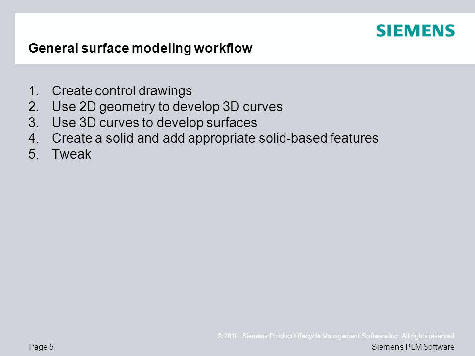 General surface modeling workflow