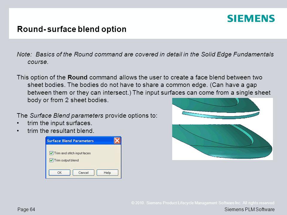 Round- surface blend option