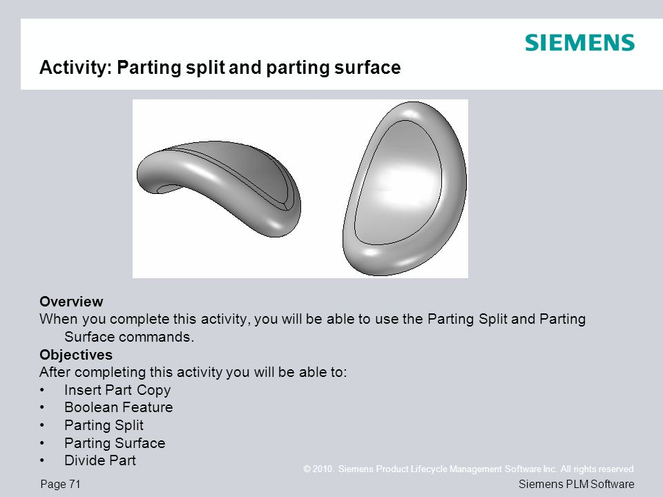 Activity: Parting split and parting surface