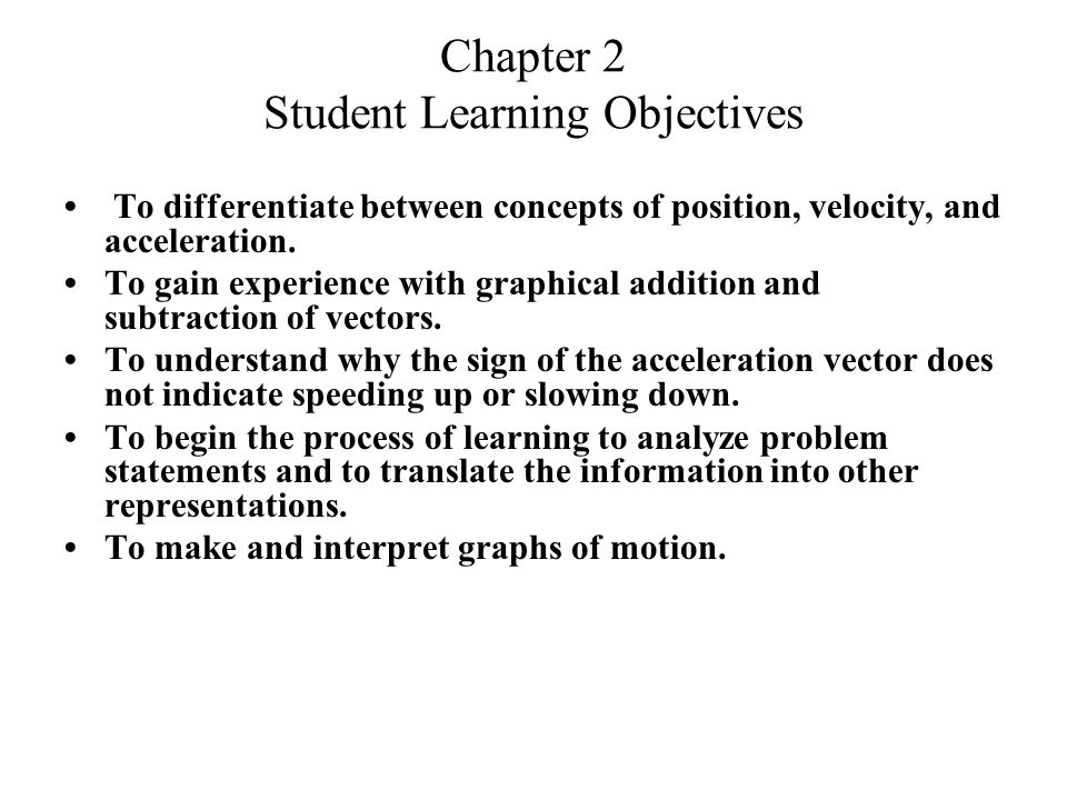 Chapter 2 Student Learning Objectives