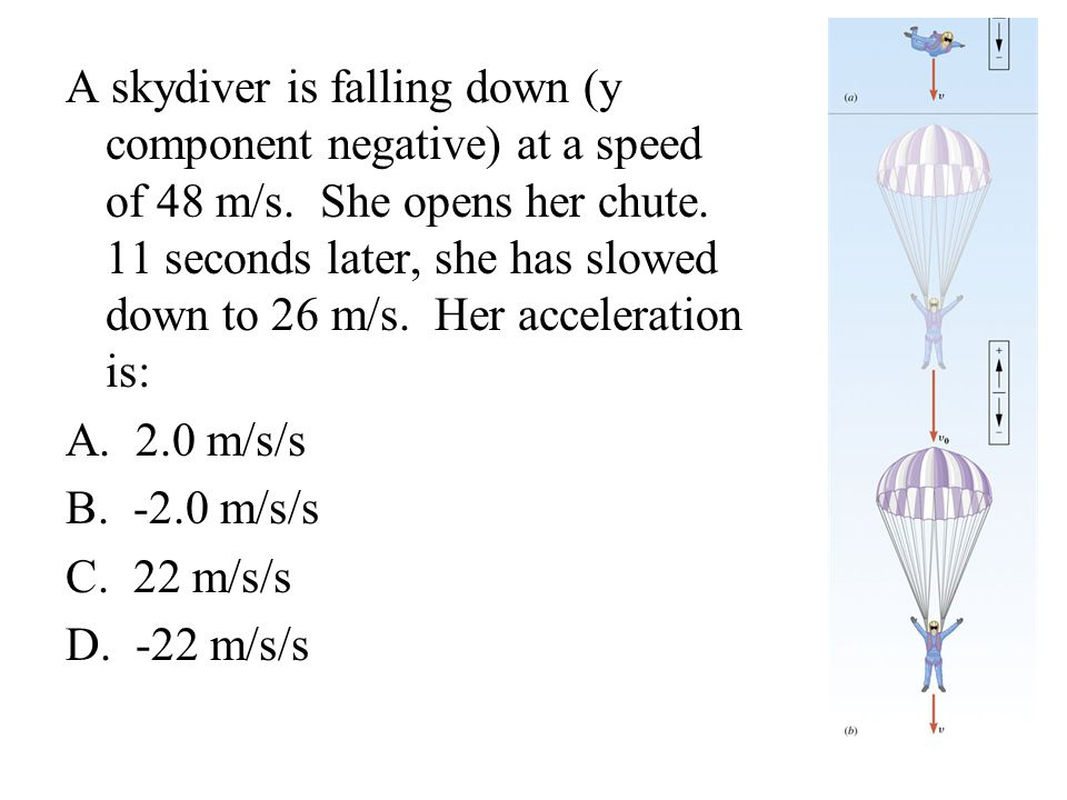 A skydiver is falling down (y component negative) at a speed of 48 m/s