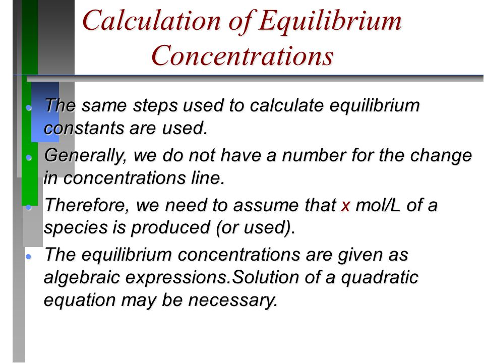 Calculation of Equilibrium Concentrations