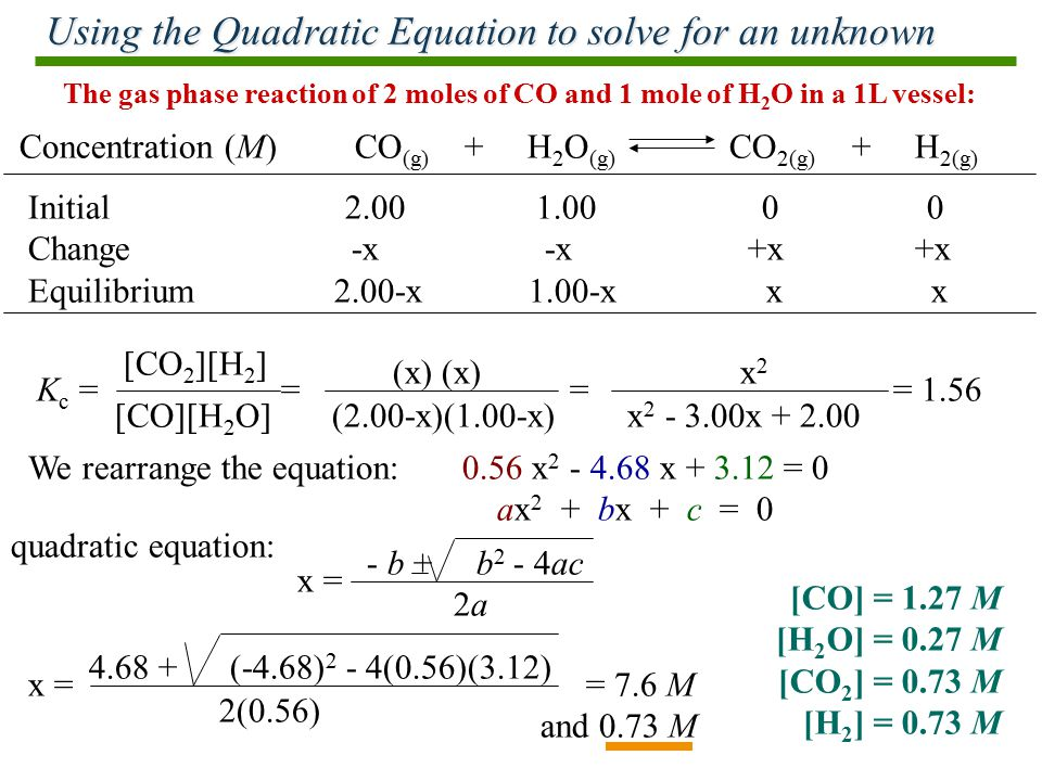 Using the Quadratic Equation to solve for an unknown