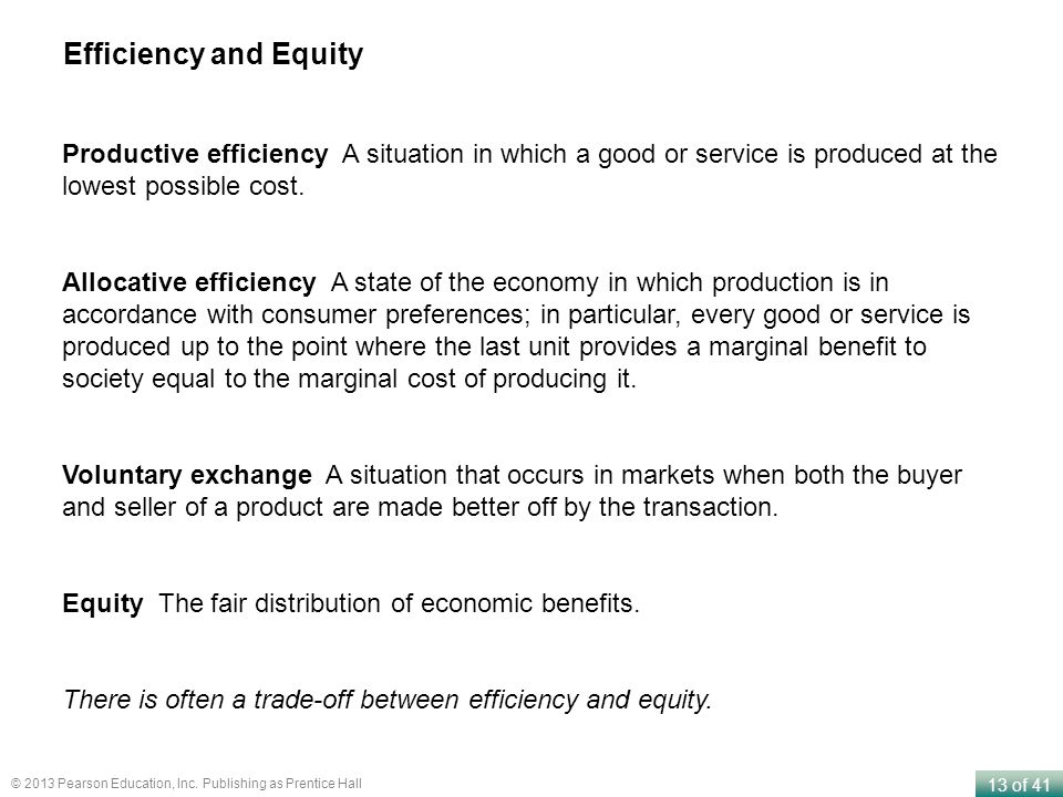 Efficiency and Equity Productive efficiency A situation in which a good or service is produced at the lowest possible cost.